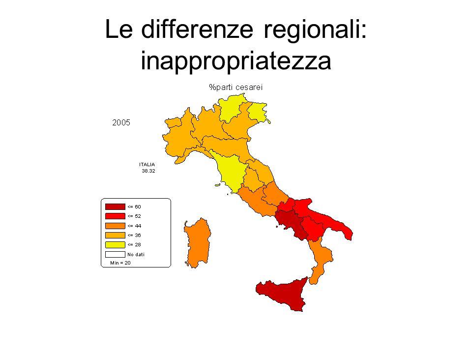 Le differenze regionali: inappropriatezza
