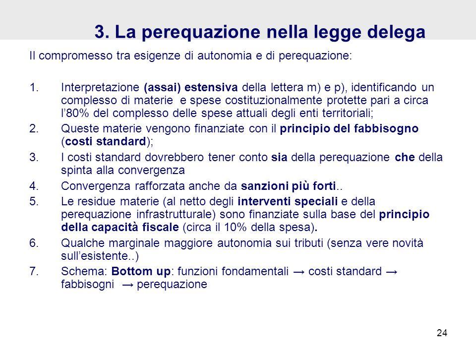 3. La perequazione nella legge delega