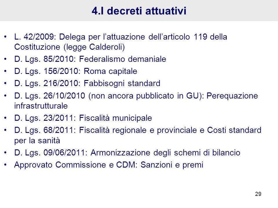 4.I decreti attuativi L. 42/2009: Delega per l'attuazione dell'articolo 119 della Costituzione (legge Calderoli)
