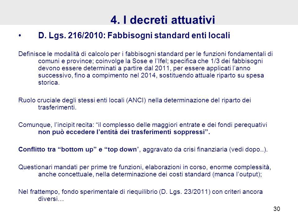 4. I decreti attuativi D. Lgs. 216/2010: Fabbisogni standard enti locali.
