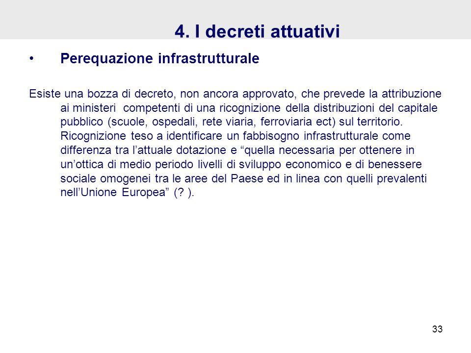 4. I decreti attuativi Perequazione infrastrutturale