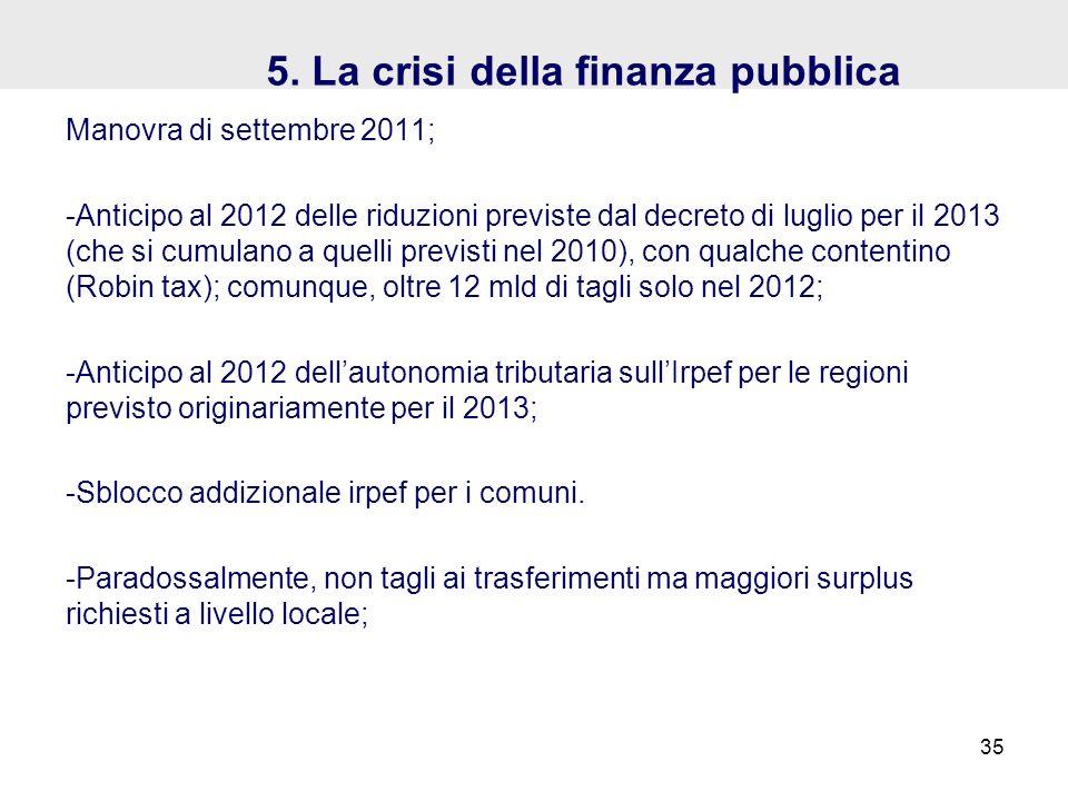 5. La crisi della finanza pubblica