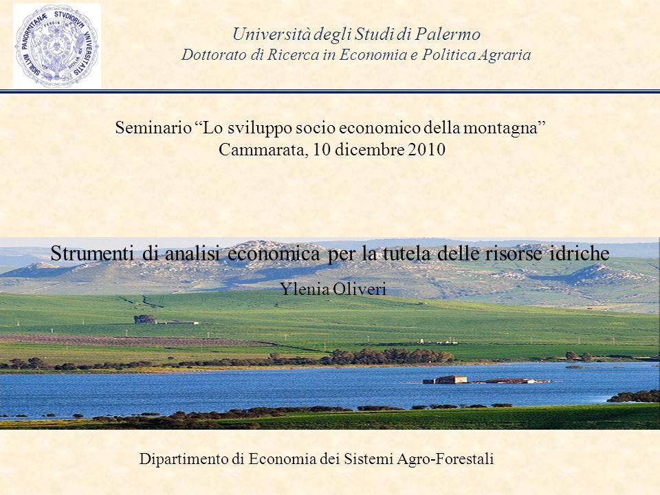 Strumenti di analisi economica per la tutela delle risorse idriche