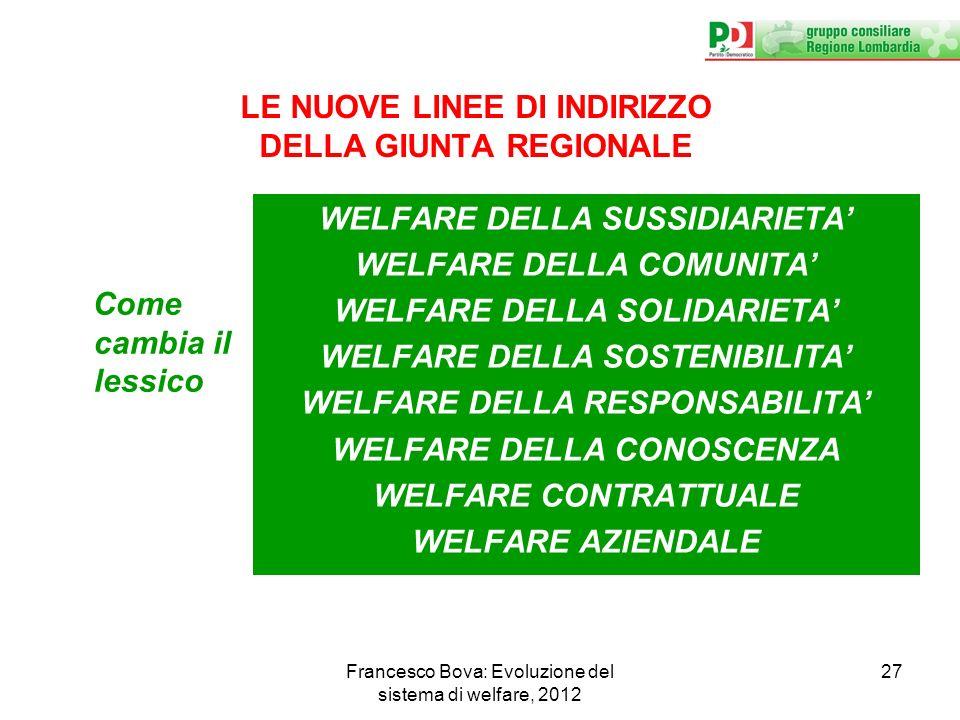 LE NUOVE LINEE DI INDIRIZZO DELLA GIUNTA REGIONALE