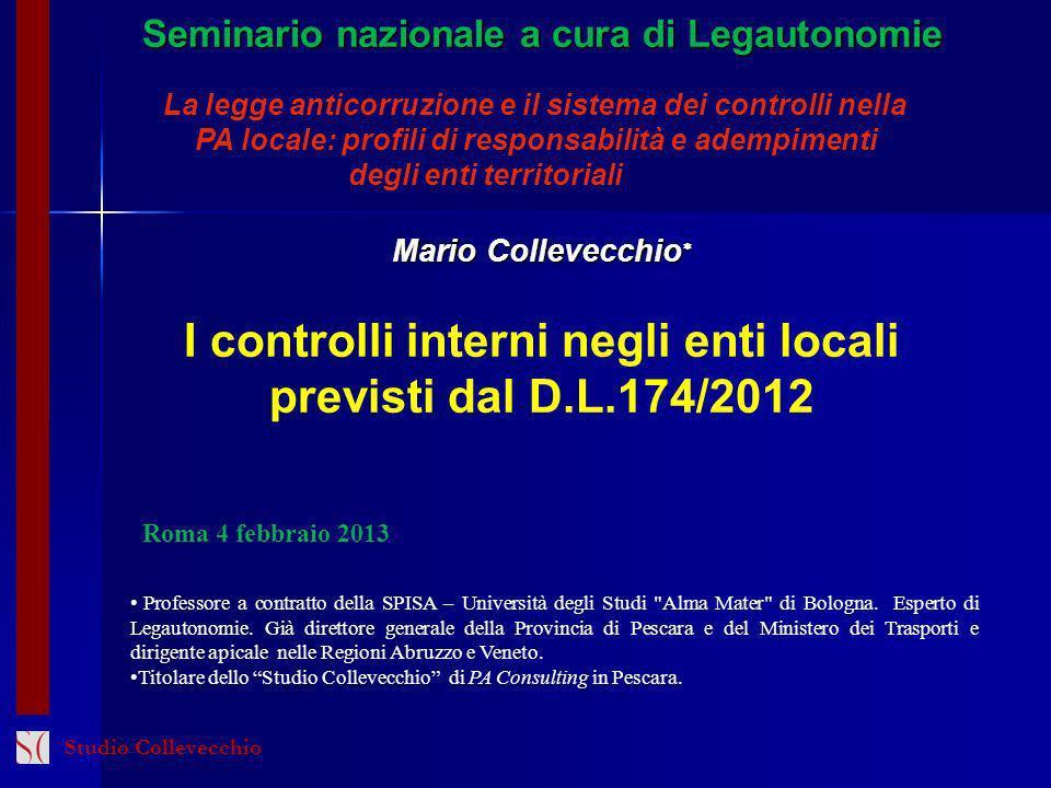 I controlli interni negli enti locali previsti dal D.L.174/2012