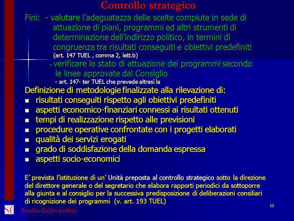 Controllo strategico Fini: - valutare l'adeguatezza delle scelte compiute in sede di. attuazione di piani, programmi ed altri strumenti di.