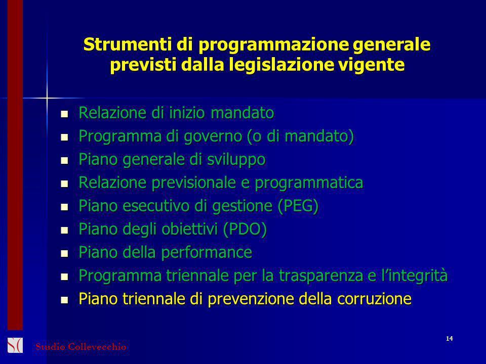 Strumenti di programmazione generale previsti dalla legislazione vigente