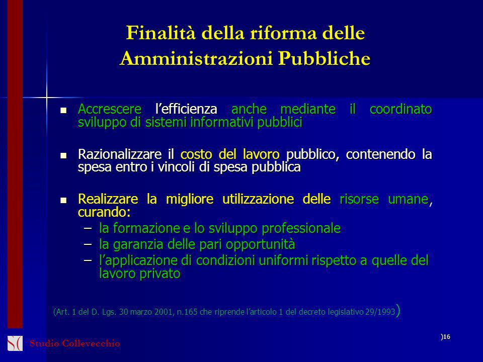Finalità della riforma delle Amministrazioni Pubbliche