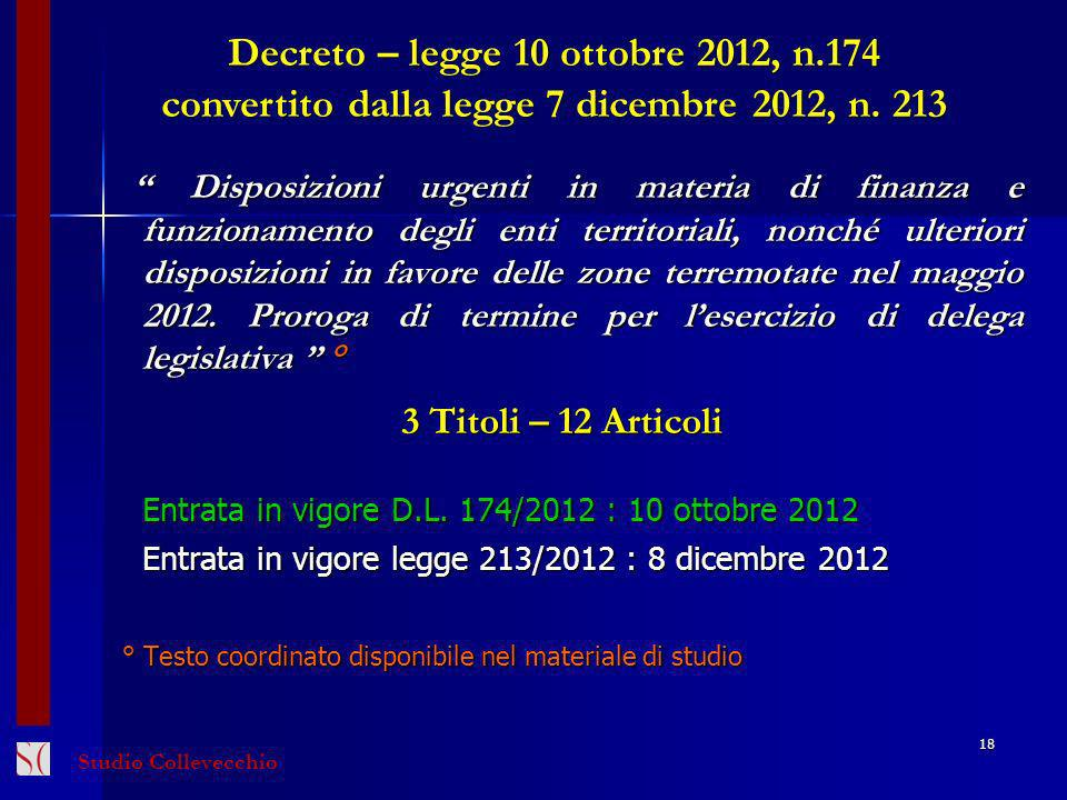 Decreto – legge 10 ottobre 2012, n