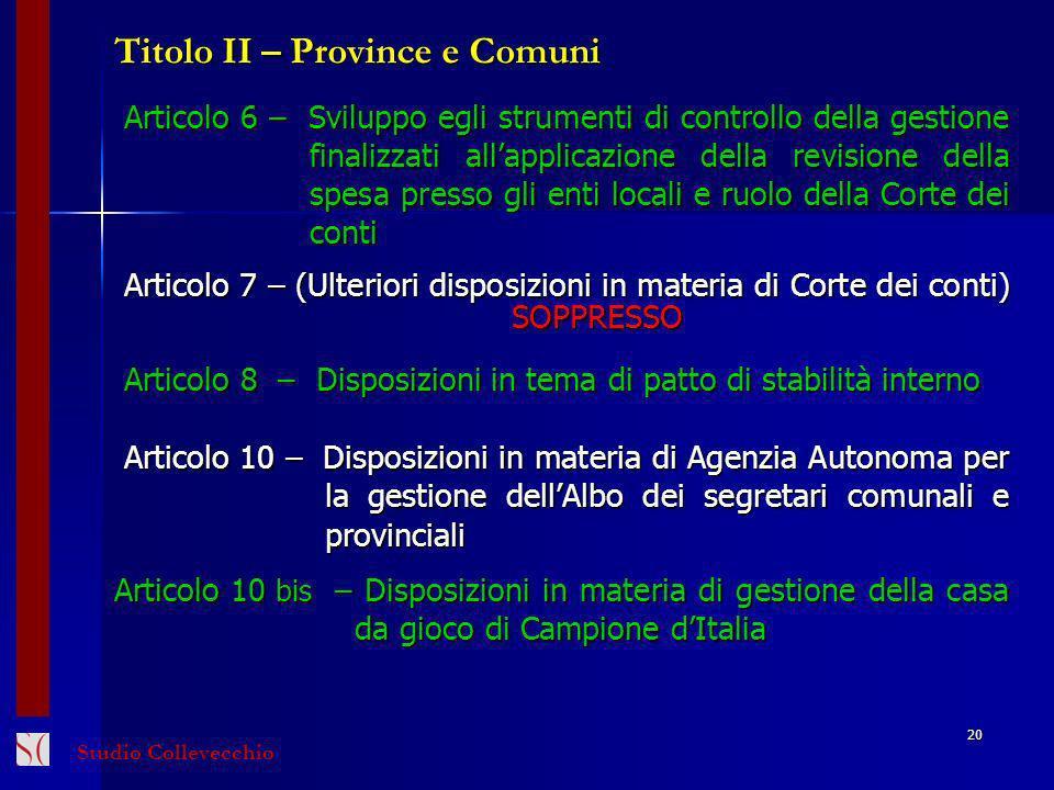Titolo II – Province e Comuni
