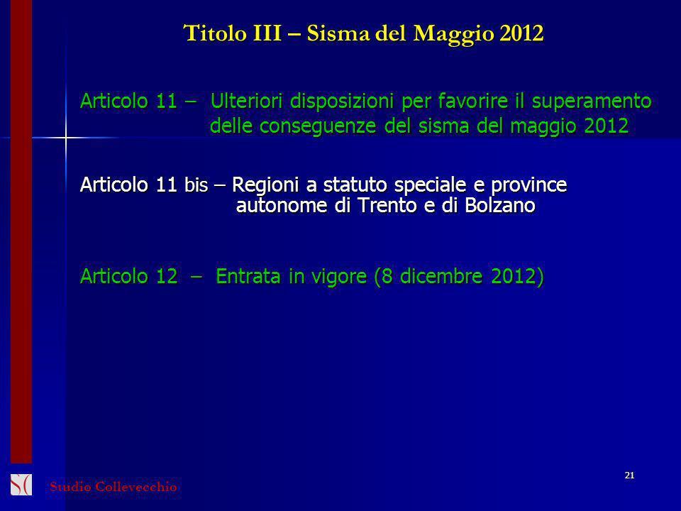 Titolo III – Sisma del Maggio 2012