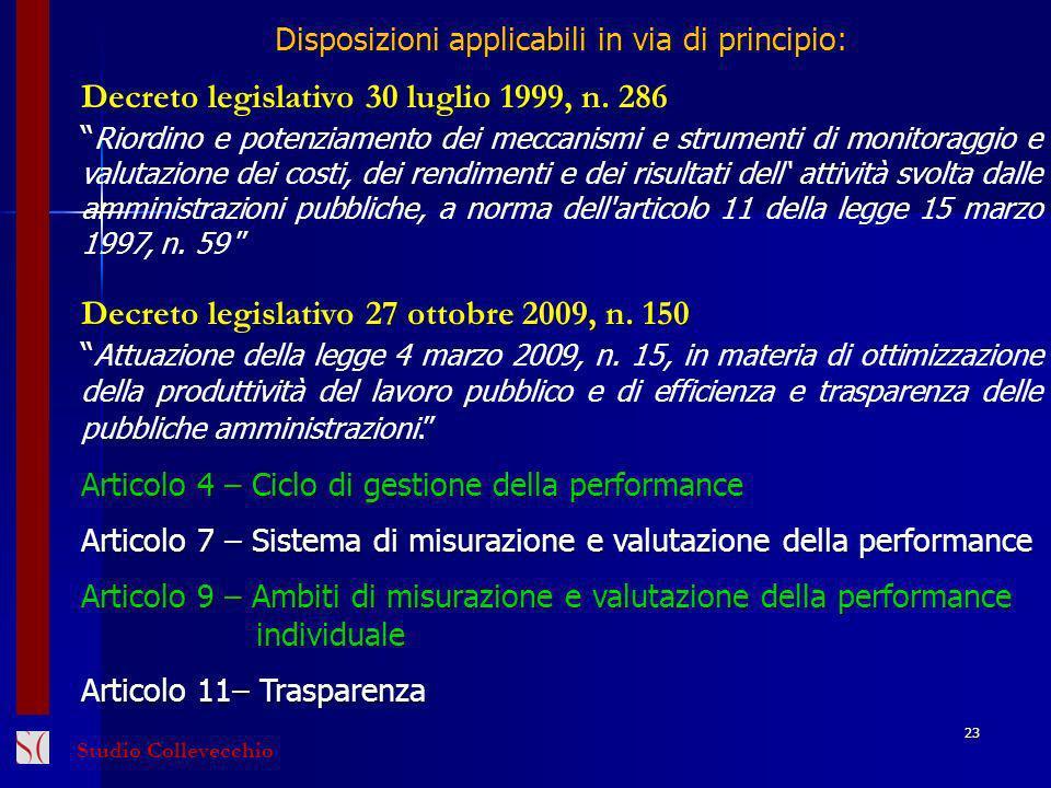 Disposizioni applicabili in via di principio: