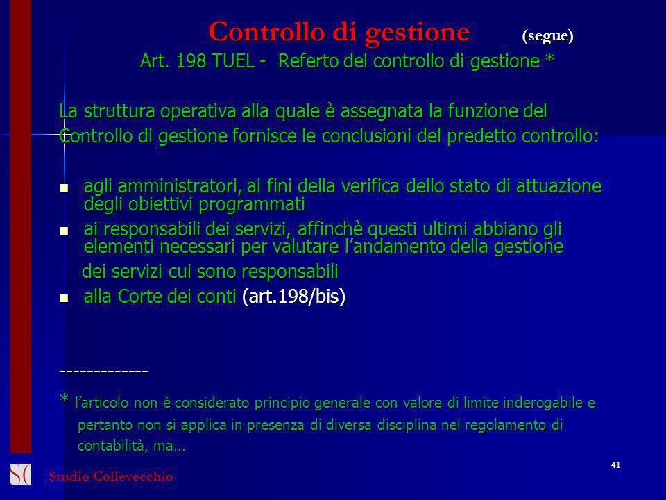 Controllo di gestione (segue)