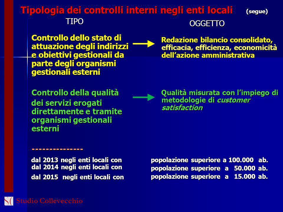 Tipologia dei controlli interni negli enti locali (segue)