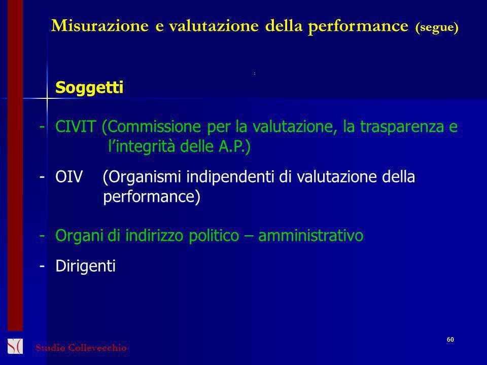 Misurazione e valutazione della performance (segue)