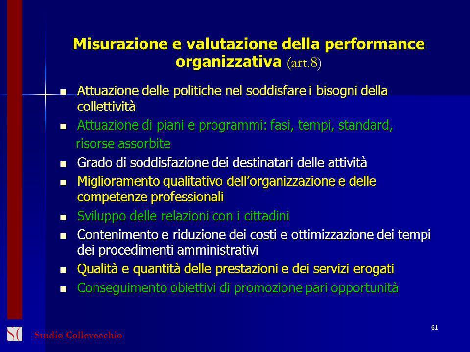 Misurazione e valutazione della performance organizzativa (art.8)