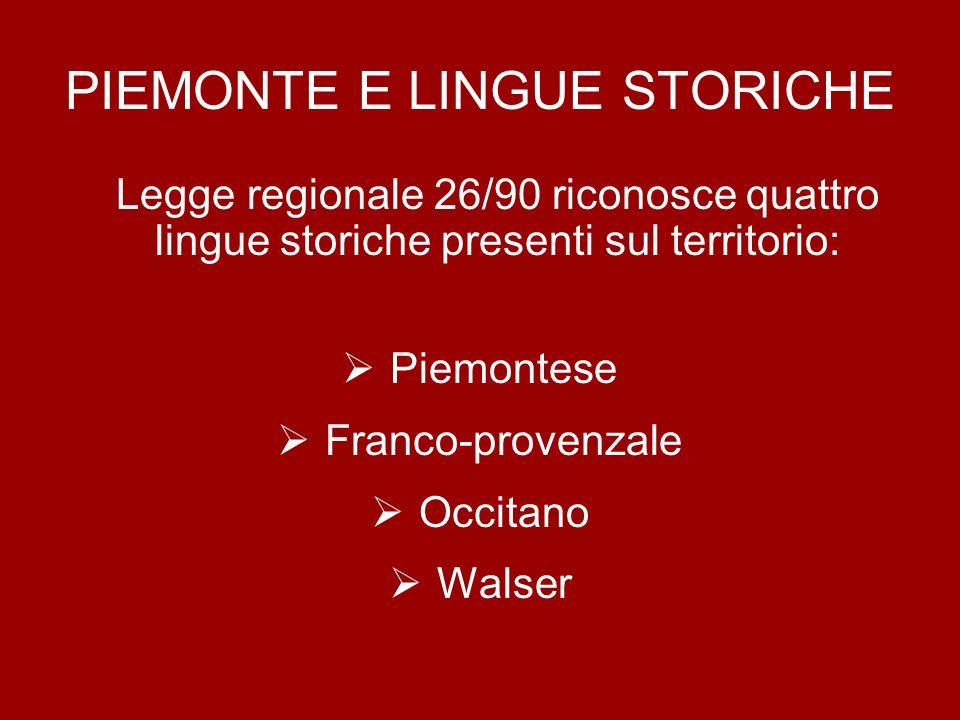 PIEMONTE E LINGUE STORICHE