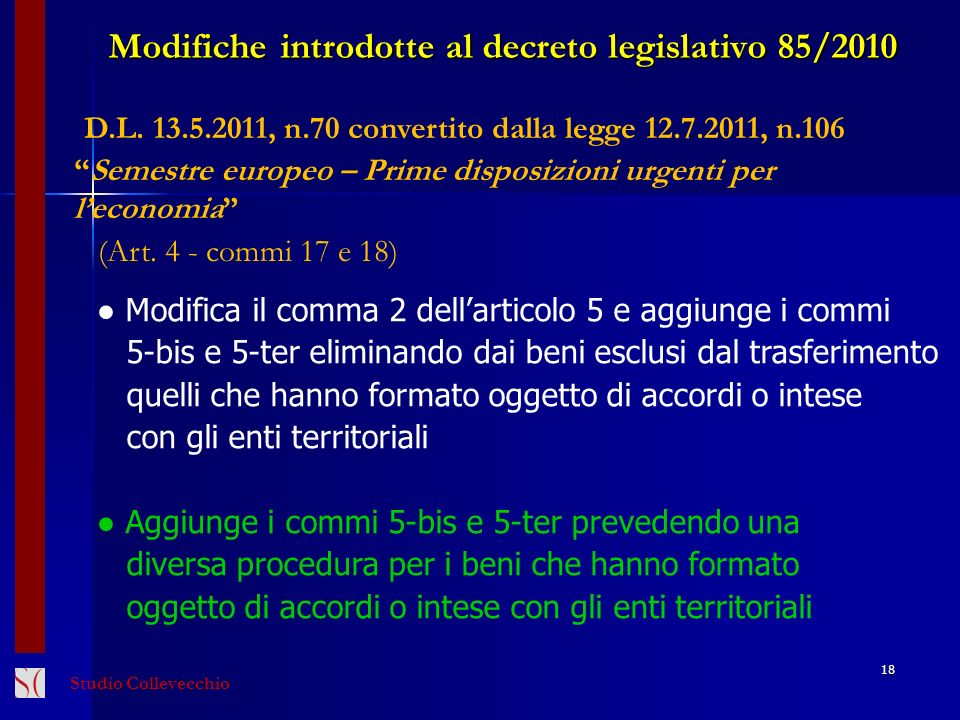 Modifiche introdotte al decreto legislativo 85/2010