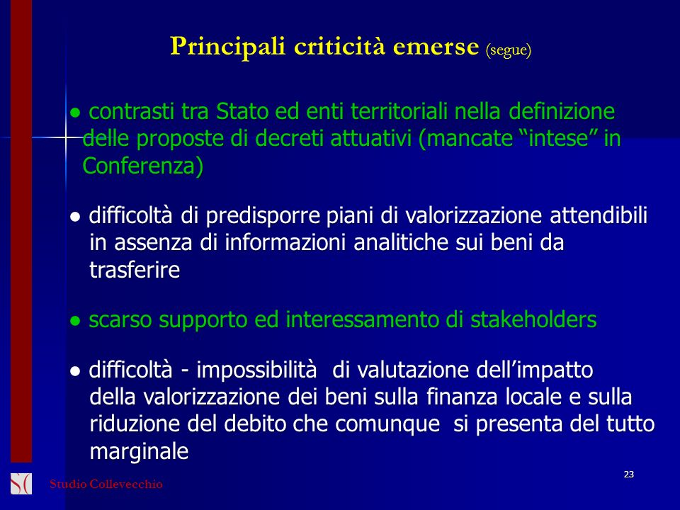 Principali criticità emerse (segue)