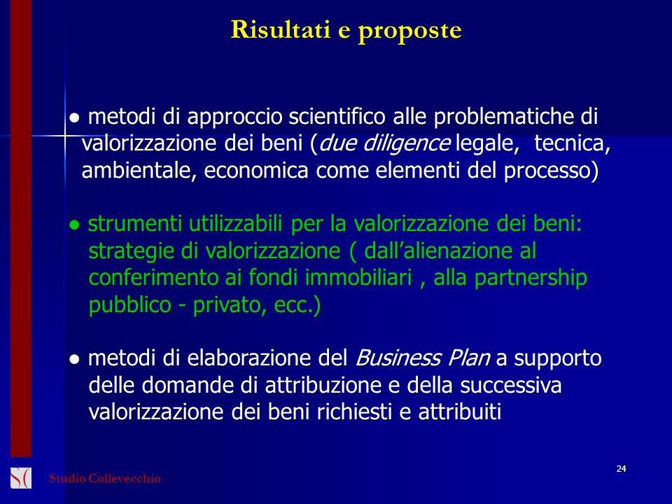 Risultati e proposte ● metodi di approccio scientifico alle problematiche di. valorizzazione dei beni (due diligence legale, tecnica,