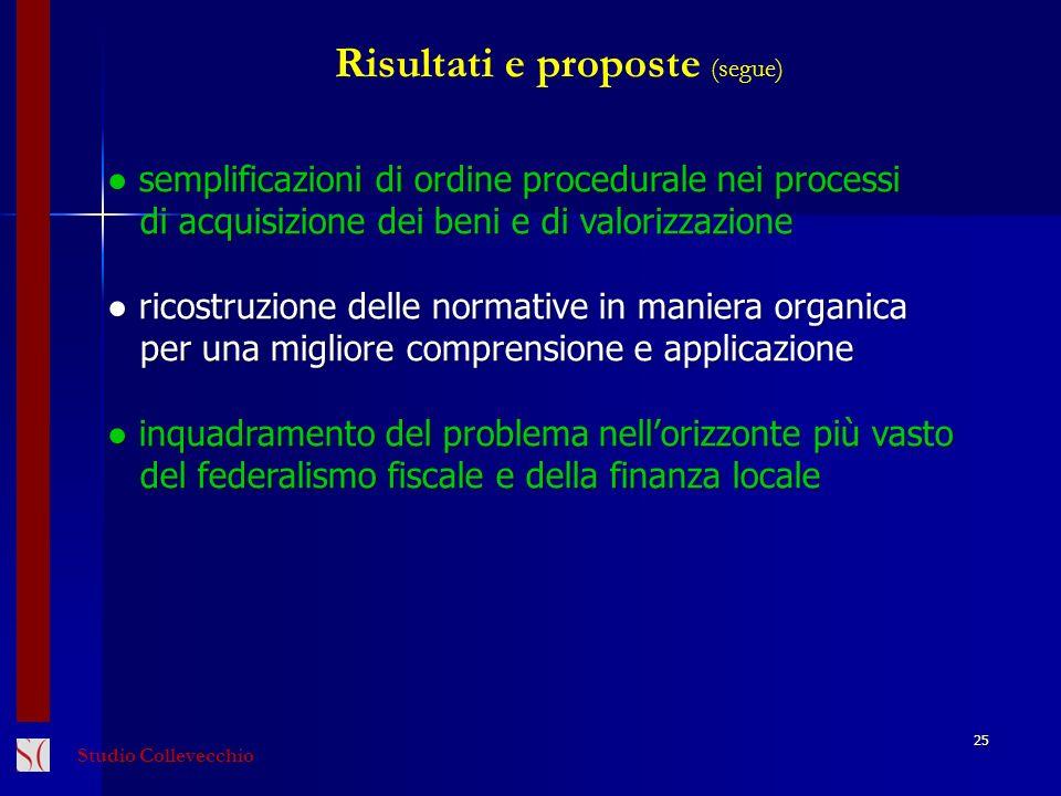 Risultati e proposte (segue)