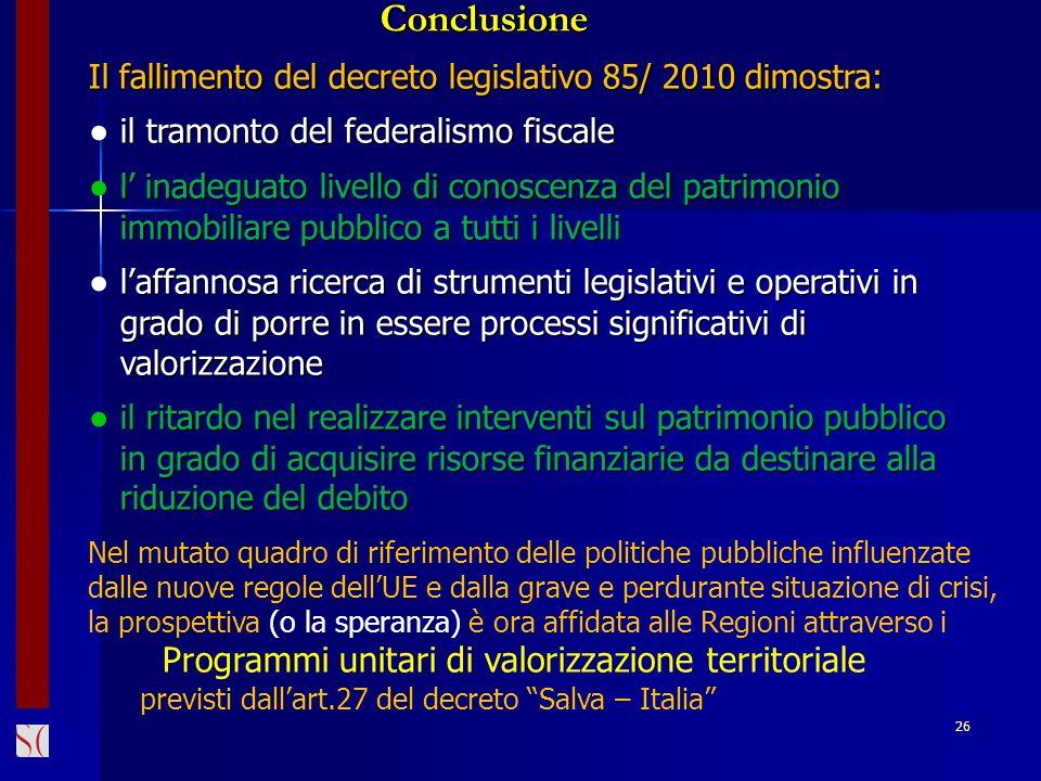 Conclusione ● il tramonto del federalismo fiscale
