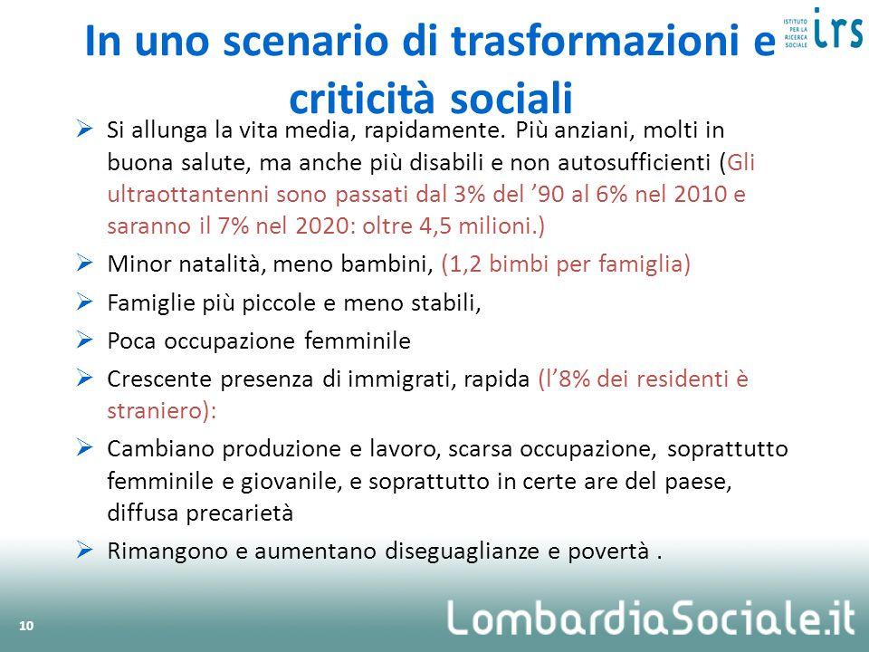 In uno scenario di trasformazioni e criticità sociali