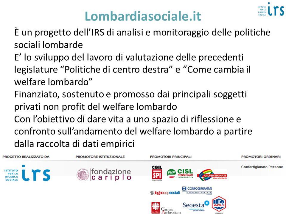 Lombardiasociale.itÈ un progetto dell'IRS di analisi e monitoraggio delle politiche sociali lombarde.