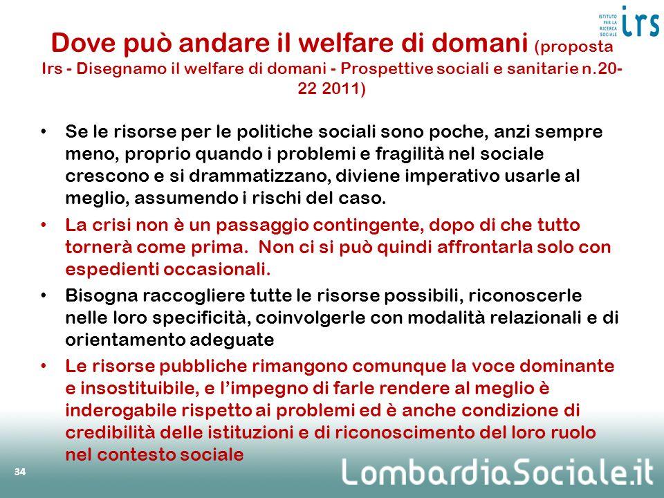 Dove può andare il welfare di domani (proposta Irs - Disegnamo il welfare di domani - Prospettive sociali e sanitarie n.20-22 2011)