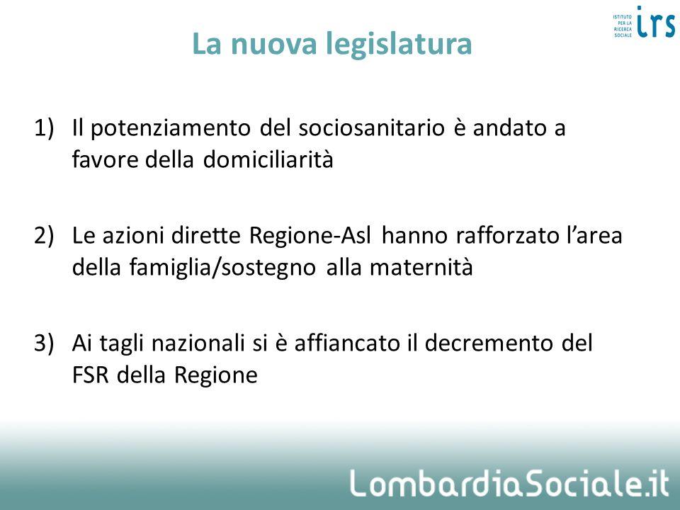 La nuova legislatura Il potenziamento del sociosanitario è andato a favore della domiciliarità.