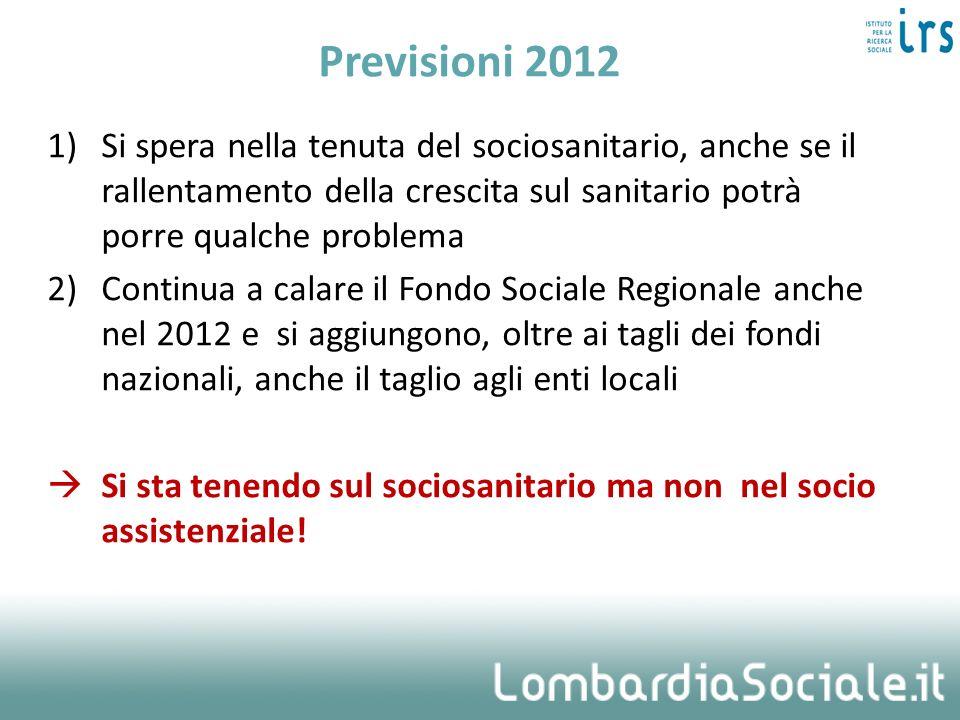 Previsioni 2012 Si spera nella tenuta del sociosanitario, anche se il rallentamento della crescita sul sanitario potrà porre qualche problema.