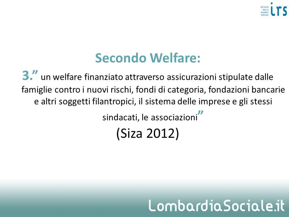 Secondo Welfare: 3. un welfare finanziato attraverso assicurazioni stipulate dalle famiglie contro i nuovi rischi, fondi di categoria, fondazioni bancarie e altri soggetti filantropici, il sistema delle imprese e gli stessi sindacati, le associazioni (Siza 2012)