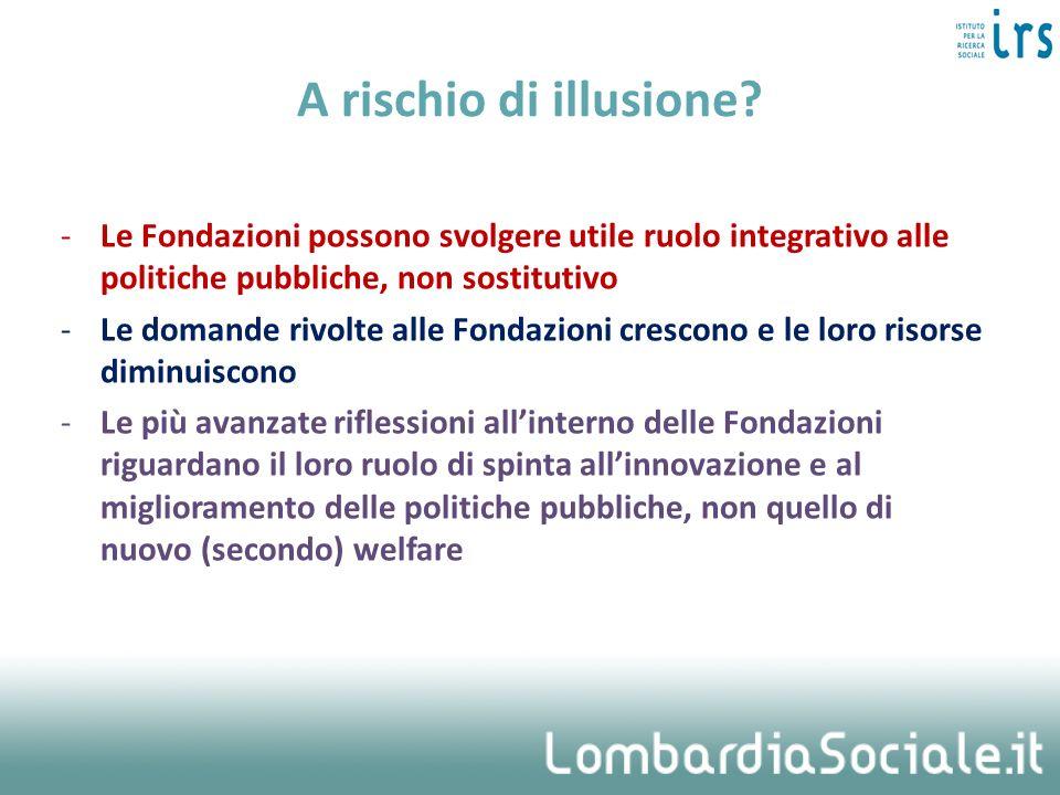A rischio di illusione Le Fondazioni possono svolgere utile ruolo integrativo alle politiche pubbliche, non sostitutivo.