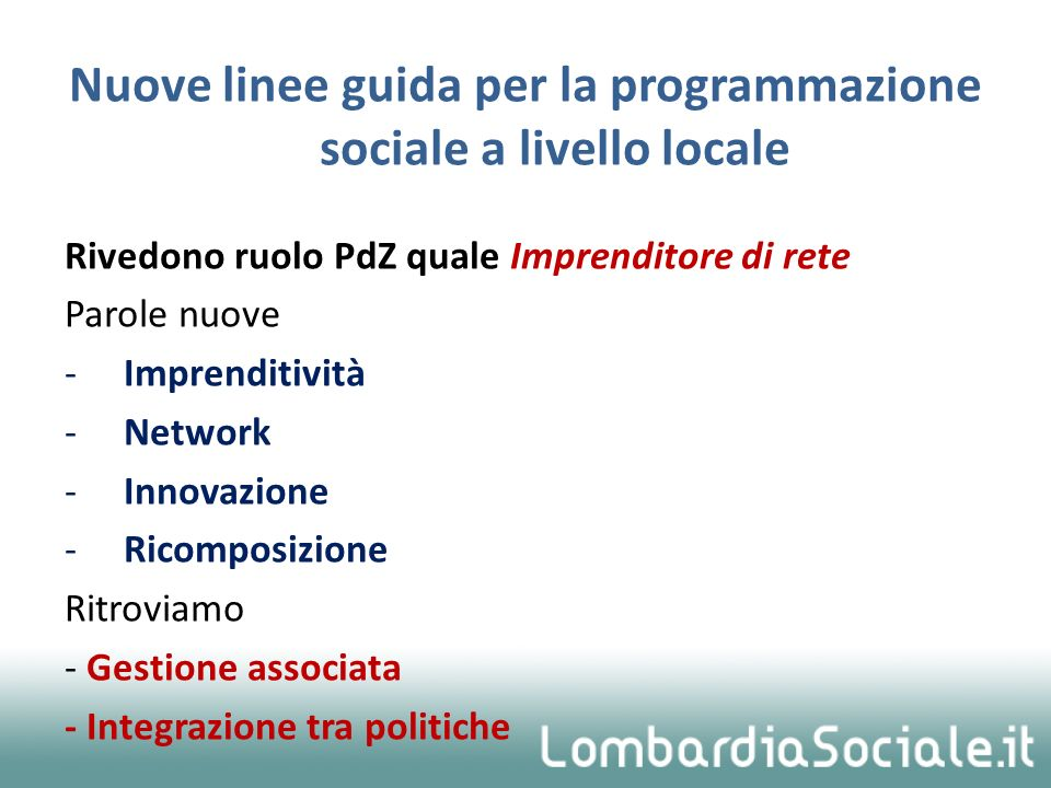 Nuove linee guida per la programmazione sociale a livello locale
