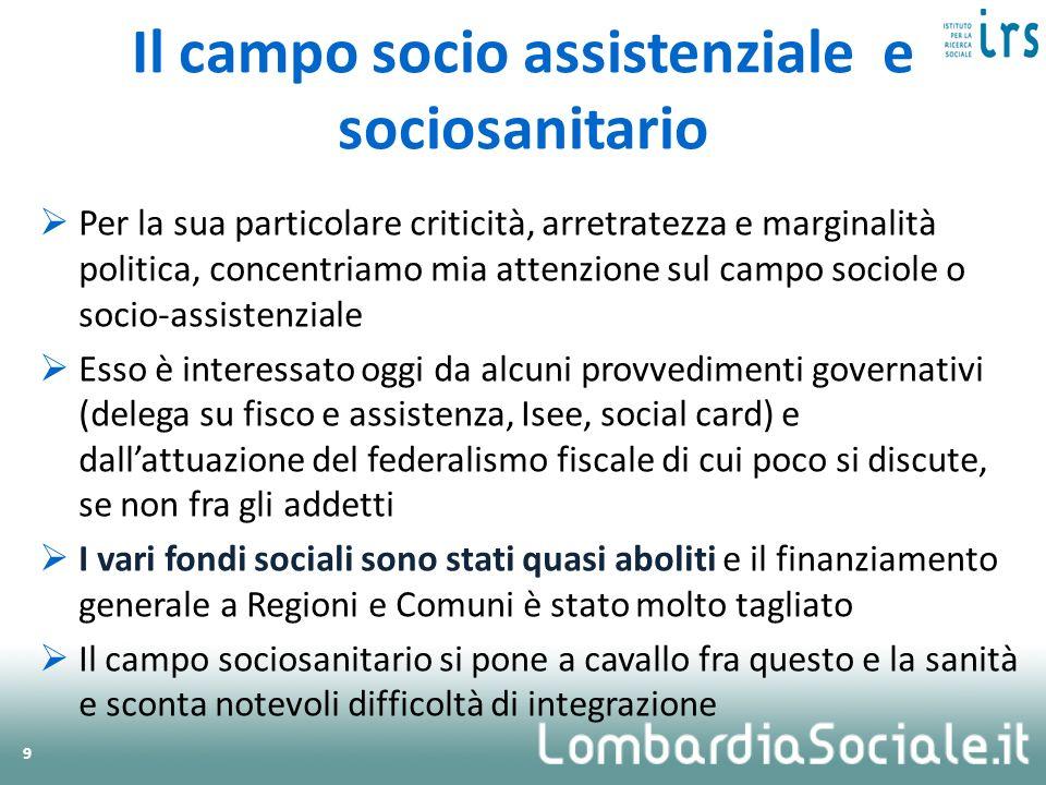Il campo socio assistenziale e sociosanitario