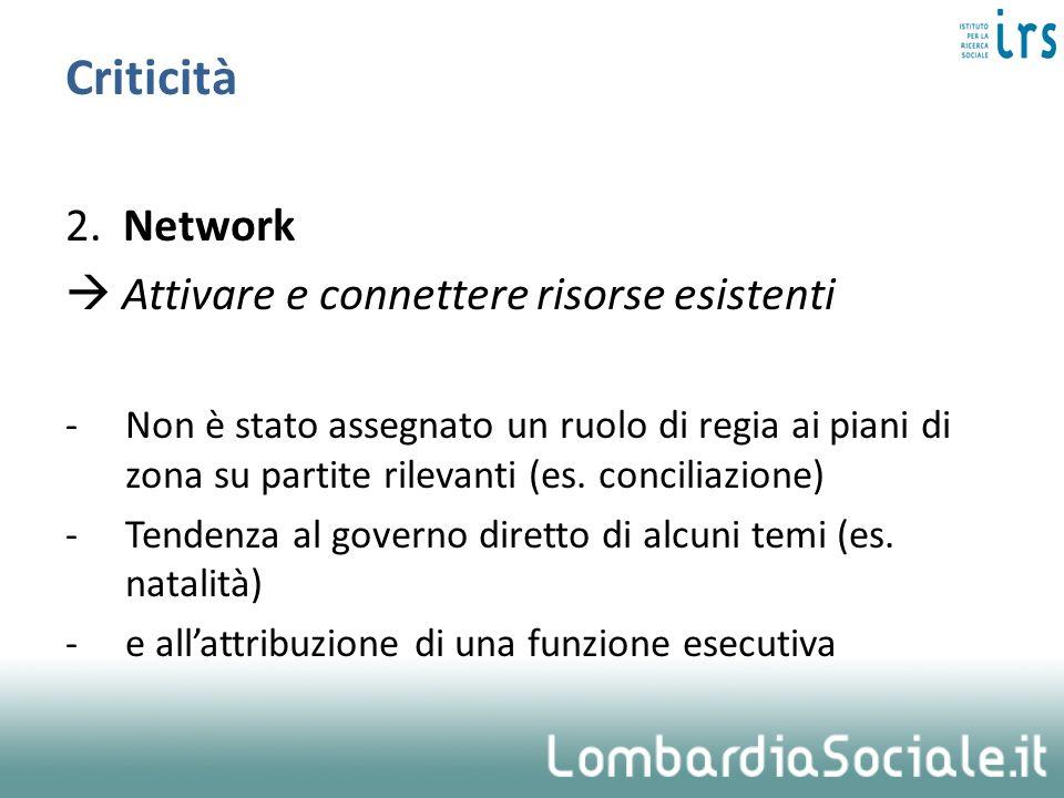 Criticità 2. Network  Attivare e connettere risorse esistenti