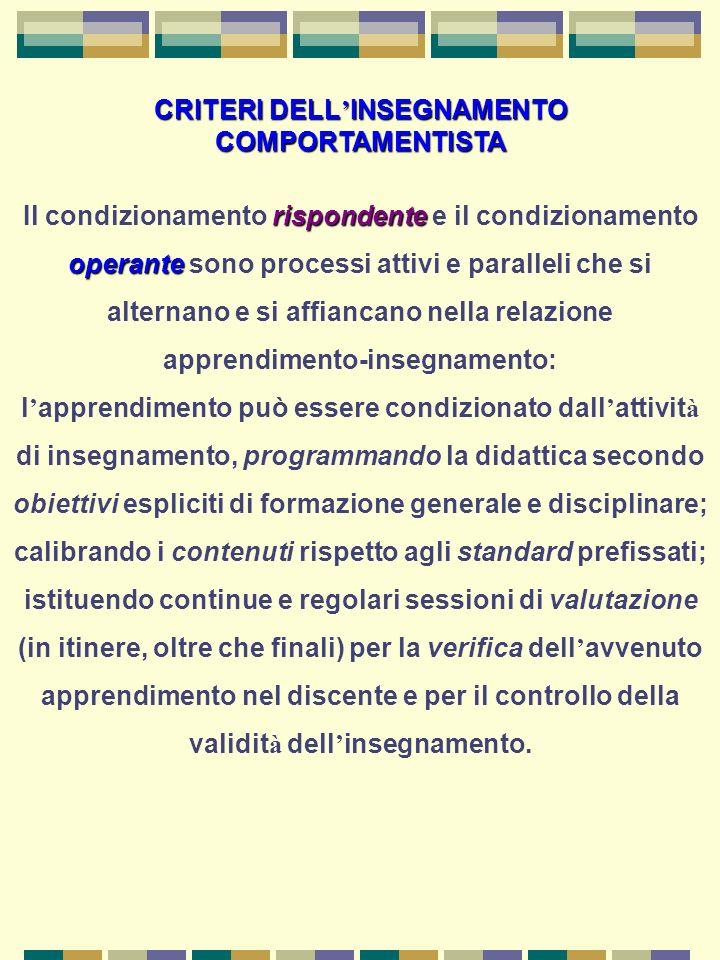 CRITERI DELL'INSEGNAMENTO COMPORTAMENTISTA