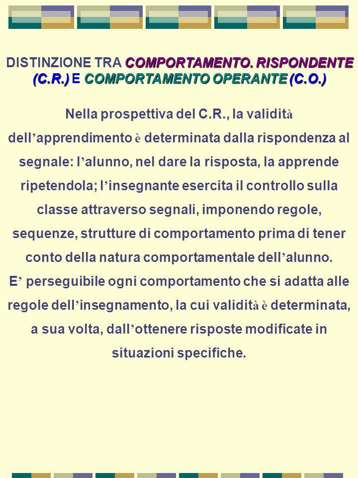 DISTINZIONE TRA COMPORTAMENTO. RISPONDENTE (C. R