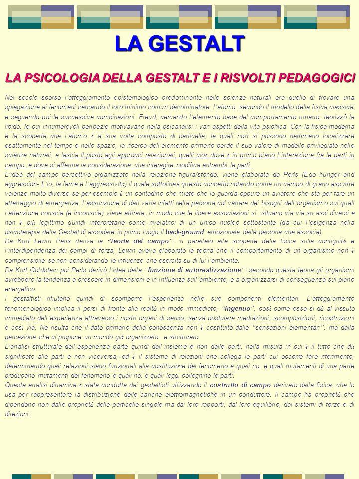 LA PSICOLOGIA DELLA GESTALT E I RISVOLTI PEDAGOGICI