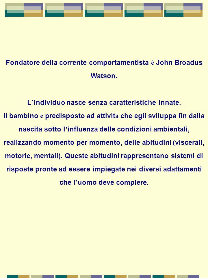 Fondatore della corrente comportamentista è John Broadus Watson.