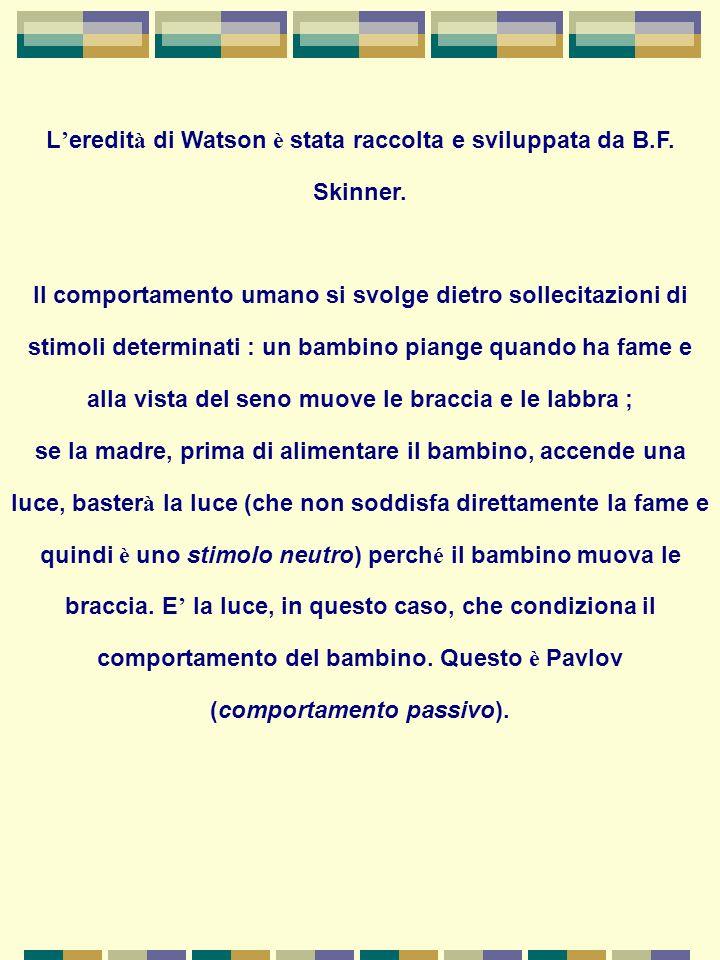 L'eredità di Watson è stata raccolta e sviluppata da B.F. Skinner.