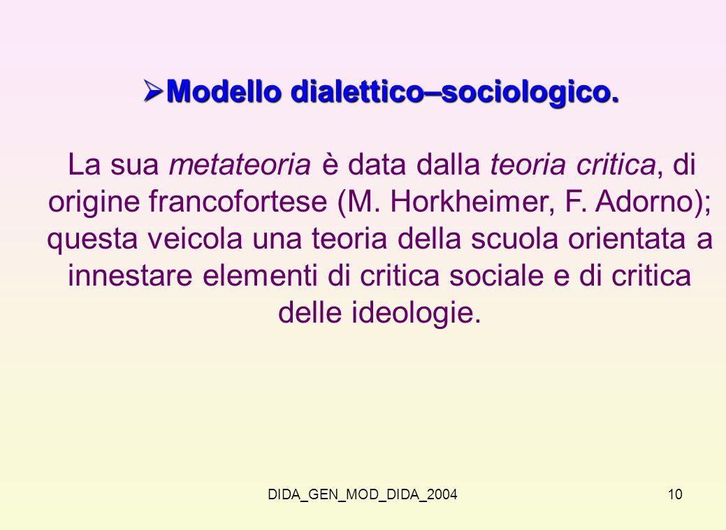 Modello dialettico–sociologico.