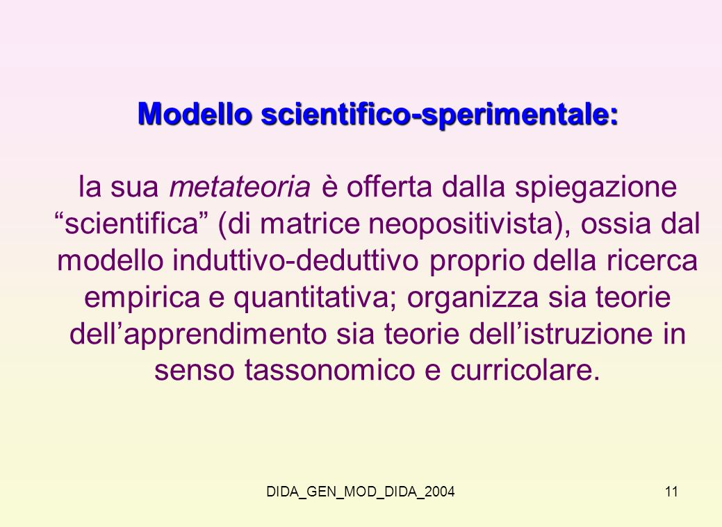 Modello scientifico-sperimentale: