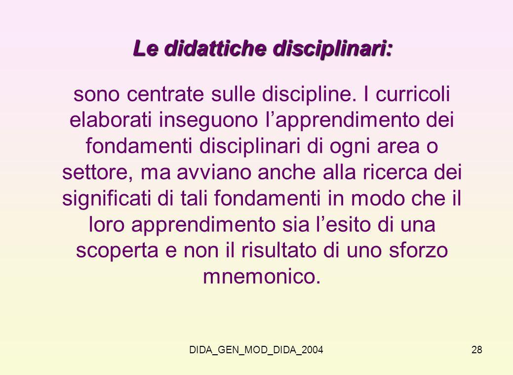 Le didattiche disciplinari: