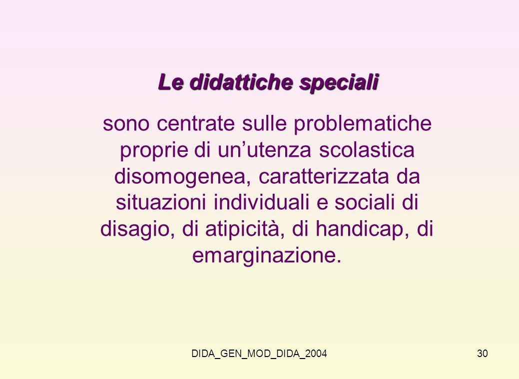 Le didattiche speciali