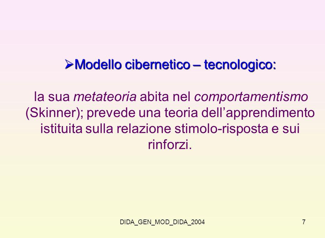 Modello cibernetico – tecnologico: