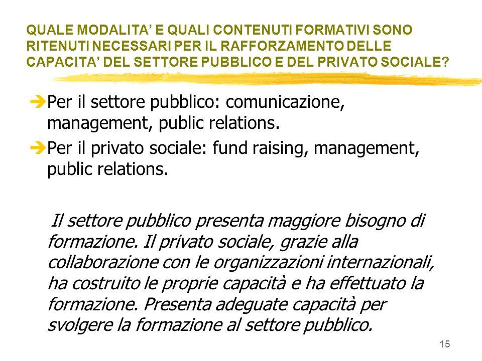 Per il settore pubblico: comunicazione, management, public relations.