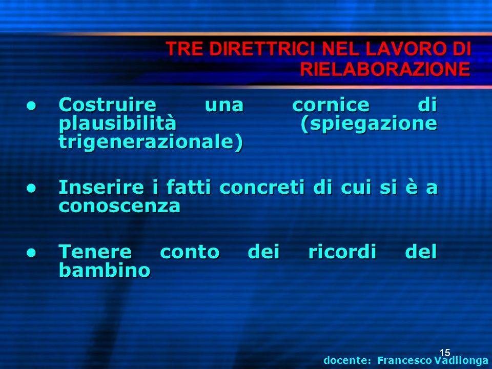 TRE DIRETTRICI NEL LAVORO DI RIELABORAZIONE