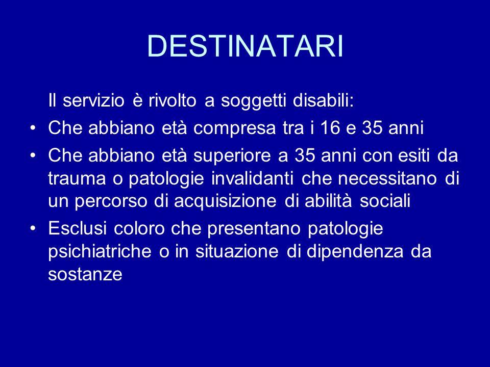 DESTINATARI Il servizio è rivolto a soggetti disabili: