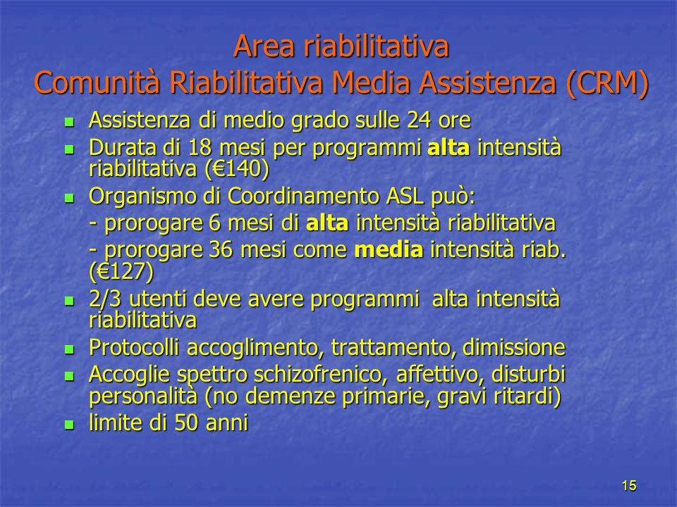 Area riabilitativa Comunità Riabilitativa Media Assistenza (CRM)